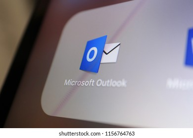 TOKYO, JAPAN. 2018 Aug 15th. Close up the Display and Icon of Microsoft Outlook.