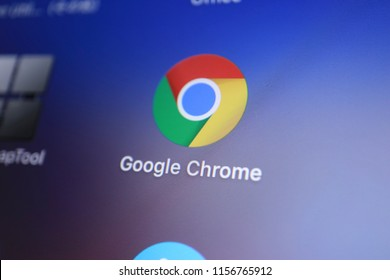 TOKYO, JAPAN. 2018 Aug 15th. Close up the Display and Icon of Google Chrome.
