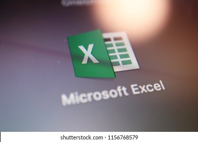 TOKYO, JAPAN. 2018 Aug 15th. Close up the Display and Icon of Microsoft Excel.