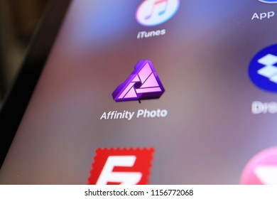 TOKYO, JAPAN. 2018 Aug 15th. Close up the Display and Icon of Affinity Photo.