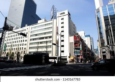 TOKYO, JAPAN. 2018 May 22nd. View of Yurakucho Street.