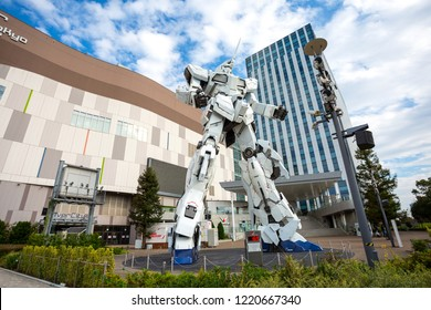 TOKYO, JAPAN - 2018 Oct 19: Unicorn Gundam statue model in front of Diver City plaza Tokyo in Odaiba.