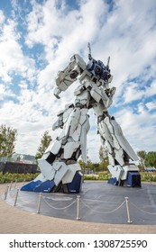 TOKYO, JAPAN - 2018 Oct 19: Unicorn Gundam statue model in front of Diver City plaza Tokyo in Odaiba.