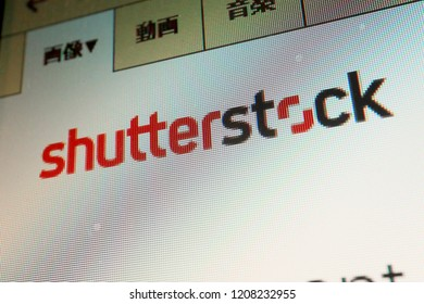 TOKYO, JAPAN. 2018 Oct 21st. Close-up the Shutterstock logo on Display, For Japanese Language.