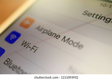 TOKYO, JAPAN. 2018 Oct 24th. Close up the Smarphone Display that iPhone's Airplane Mode Menu.