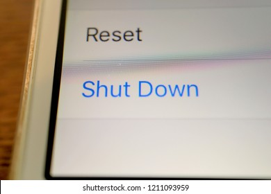 TOKYO, JAPAN. 2018 Oct 24th. Close up the Smarphone Display that iPhone's Shut Down Menu.