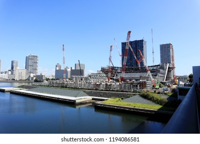 TOKYO, JAPAN. 2018 Sep 30th. Under Construction Building of New Olympic Arena, at 2020 Tokyo.