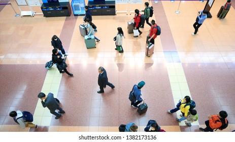 TOKYO, JAPAN. 2019 April 27th. Busy Haneda Airport Domestic Terminal in Golden Week