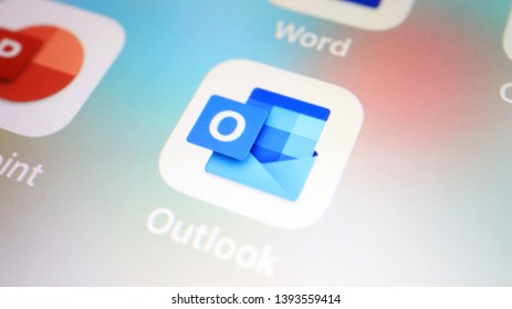 TOKYO, JAPAN. 2019 May 10th. Close up the Brand-New Microsoft Office Icons set on Smartphone Display