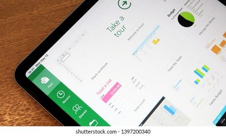 TOKYO, JAPAN. 2019 May 13rd. Close up the Microsoft Excel App on iPad Display.