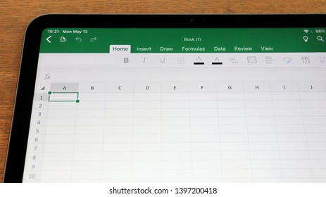 TOKYO, JAPAN. 2019 May 13rd. Close up the Microsoft Excel App on iPad Display.