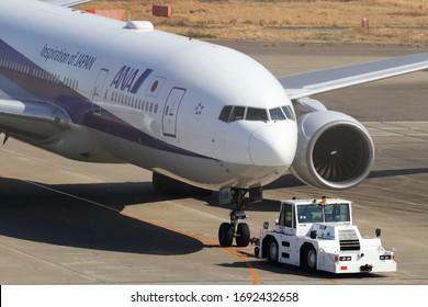 Tokyo - Japan / 2020 FEB 21 / All Nippon Airways Boeing 777-300 at Tokyo Haneda International Airport.