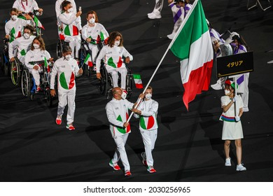 Tokyo, Japan. 2021 August 25th. Opening ceremony of the Paralympic Games Tokyo 2020. Italy, Bebe Vio and Federico Morlacchi