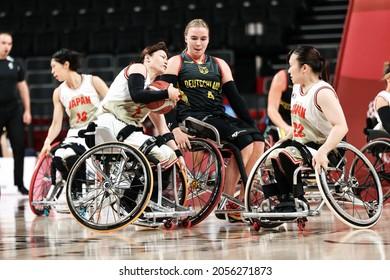 Tokyo, Japan. 2021 August 29th. Weman's Wheelchair Basketball: Germany Vs Japan in Tokyo paralympic games 2020. MILLER Mareike (22 GER), TSUCHIDA Mayumi (7 JPN), YASUO Emi (22 JPN)