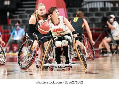 Tokyo, Japan. 2021 August 29th. Weman's Wheelchair Basketball: Germany Vs Japan in Tokyo paralympic games 2020. MILLER Mareike (22 GER), TSUCHIDA Mayumi (7 JPN)