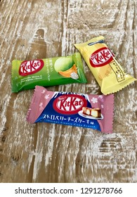 TOKYO, JAPAN - 21 NOVEMBER 2018: Uniquely flavored Kit Kat variants. There have been more than 300 limited-edition seasonal and regional flavors of Kit Kats produced in Japan since 2000. Editorial.