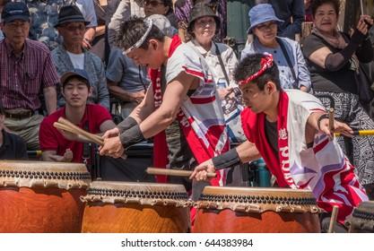 TOKYO, JAPAN - 21ST MAY 2017. Traditional drummers at the Shibuya Kagoshima Ohara Matsuri. The annual street festival is a symbol of friendship and relations between Kagoshima City and Shibuya ward.