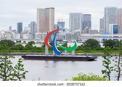 TOKYO, JAPAN - 22 August 2021:Tokyo Paralympic monuments , Three Agitos