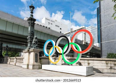 "TOKYO, JAPAN - 23 July 2021:Olympic symbol installed in Nihonbashi, Japanese word "" Nihonbashi """