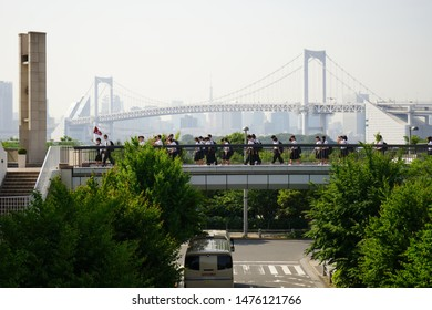 Tokyo, Japan - 24/05/18 : The tourists are walking and chilling around the Odaiba Station ,Japan. Tourist visiting Symbol Promenade Park in Odaiba.
