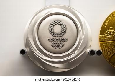 TOKYO, JAPAN - 25 July 2021:Tokyo Olympic silver medal
