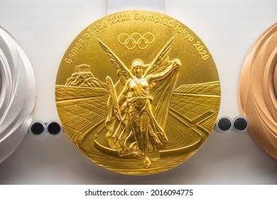 TOKYO, JAPAN - 25 July 2021:Tokyo Olympic gold medal