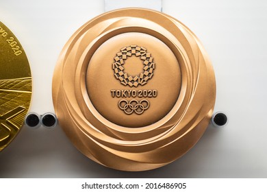 TOKYO, JAPAN - 25 July 2021:Tokyo Olympic bronze medal