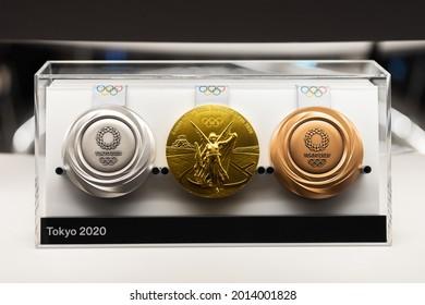 TOKYO, JAPAN - 25 July 2021:Tokyo Olympics 2020 medal