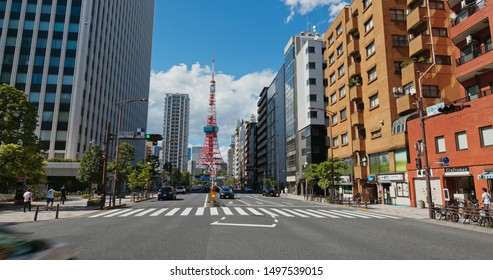 Tokyo, Japan, 26 June 2019: Tokyo tower in the city