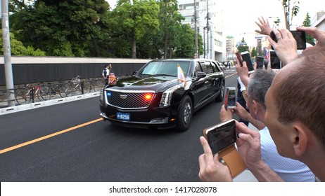 TOKYO, JAPAN - 26 MAY 2019 : Motorcade of U.S. President Donald Trump and First Lady Melania depart Kokugikan after watching grand sumo tournament.