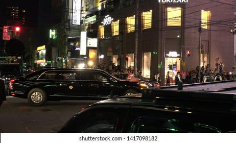 TOKYO, JAPAN - 26 MAY 2019 : Motorcade of U.S. President Donald Trump and First Lady Melania depart Roppongi after having a dinner with Japanese Prime Minister Shinzo Abe and Mrs. Akie Abe.