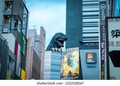 TOKYO, JAPAN - 26 OCT, 2018 : Godzilla, popular Japanese pop cilture monster, overlooking a street in Kabukicho district, Shinjuku.
