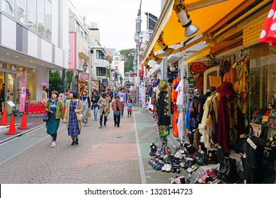 TOKYO, JAPAN -26 OCT 2018- View of the Harajuku neighborhood in Shibuya, Tokyo, Japan. This area is known for Japanese street youth culture and fashion.