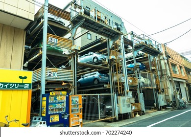 TOKYO, JAPAN -28 JUN 2017: An automated multi-story car parking system. Automatic multi-story car park systems enable to optimize space in crowded cities in Tokyo