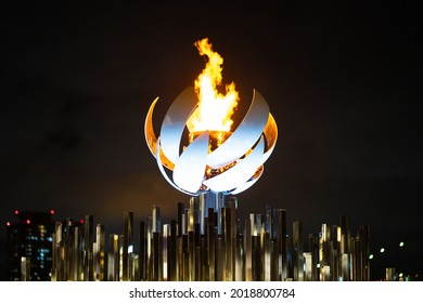 TOKYO, JAPAN - 3 August 2021:The torch stand set up on Odaiba's dream Oshima
