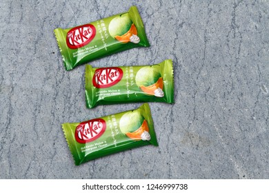 TOKYO, JAPAN - 30 NOVEMBER 2018: Melon & Mascarpone flavor Kit Kats in Japan. Kit Kat is Japan's top selling confectionary, with more than 300 limited-edition flavors produced since 2000. Editorial.