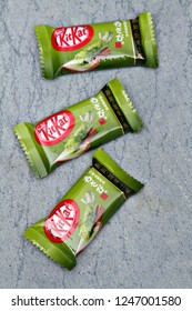 TOKYO, JAPAN - 30 NOVEMBER 2018: Wasabi flavored Kit Kats in Japan. Kit Kat is Japan's top selling confectionary, with more than 300 limited-edition flavors produced since 2000. Editorial.
