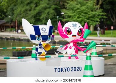 TOKYO, JAPAN - 31 May 2021:Tokyo Olympics, Paralympic mascot dolls,miraitowa and someity