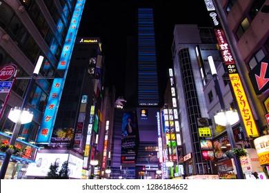 Tokyo Japan, 4 Feuary 2018: Shinjuku Night Tokyo Japan Tourist District,shopping street near Kabukicho street Japan. Neons of Shinjuku entertainment area. Shinjuku famous neon street sightseeing spot