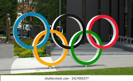 TOKYO, JAPAN - 4 JUNE 2019 : The five ring symbol of the Olympic Games are displayed at Japan Sport Olympic Square. Japan will host the Tokyo 2020 summer olympics.