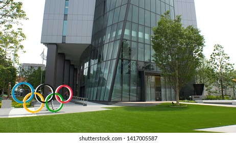 TOKYO, JAPAN - 4 JUNE 2019 : View of Japan Sport Olympic Square. Japan will host the Tokyo 2020 summer olympics.
