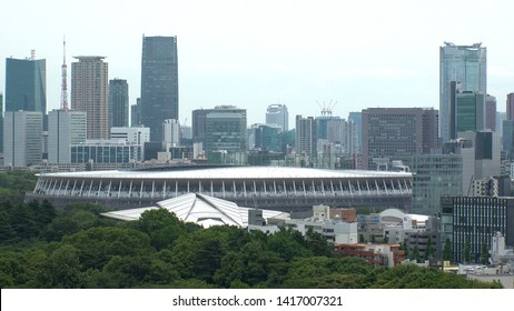 TOKYO, JAPAN - 4 JUNE 2019 : Aerial view of the New National Stadium under construction for Tokyo Olympic 2020. The stadium will serve as the main stadium for the opening and closing ceremonies.