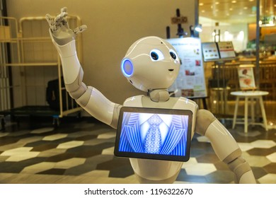 Tokyo, Japan 7 July 2017: Pepper Robot Assistant with Information screen at Tsutaya shop Tourism Japan. Close-up of the head of a Softbank Pepper robot on customer service. Pepper is a humanoid robot