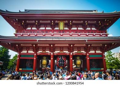Tokyo, Japan 7 July 2017: Asakusa Temple in Tokyo. Asakusa district, Japan, Asia. Asian historic architecture.  Sensoji Asakusa Kannon Temple - Japan landmark background