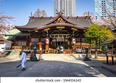 Tokyo, Japan - Apr 1, 2018: Shinjuku Juniso Kumano Jinja temple in Shinjuku Chuo Park