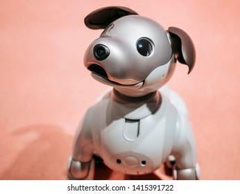 TOKYO, JAPAN - APR 14, 2019 : Aibo Robotic pets designed and manufactured by Sony Pet robot