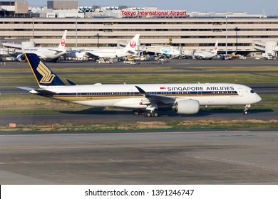 TOKYO JAPAN / APR 15 2019 / Singapore airlines Airbus A350-900 taxi for take off from Tokyo Haneda airport.