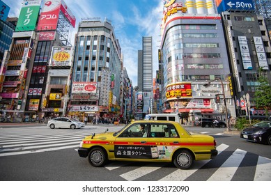 TOKYO, JAPAN - APR 25, 2018: Shinjuku's Kabuki-cho district in Tokyo, Japan. The area is a shopping mall and entertainment district.