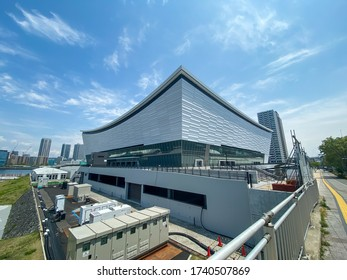TOKYO, JAPAN. Apr 25th 2020. Still Under construction New 2020 Tokyo Olympic Arena, caused by Coronavirus