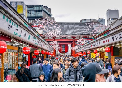 TOKYO, JAPAN - APRIL 02, 2017 : Tourist visit Sensoji Temple. The Temple is the symbol of Asakusa and the oldest in all of Tokyo, Japan.